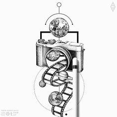Camera is universe. Dotwork geometric galaxy camera tattoo designYou can find Camera tattoos and more on our website.Camera is universe. Camera Drawing, Camera Art, Film Camera, Camera Painting, Cool Art Drawings, Pencil Art Drawings, Tattoo Sketches, Art Sketches, Camera Sketches