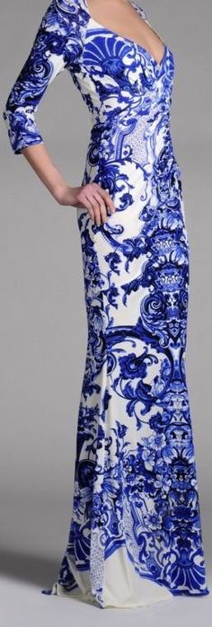 blue and white Delft-inspired dress by Roberto Cavalli