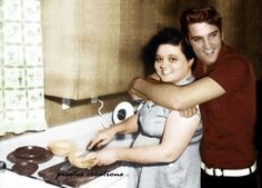 Elvis Aaron Presley in a RARE colour photo with his beloved mum, Gladys Love Presley, approx.1955-56 still living in the smaller villa in Memphis... #rare #photo #elvis
