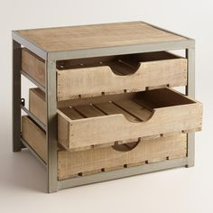 Give your desktop storage a rustic appeal with our apple crate-inspired organizer. Three wooden drawers in a distressed metal frame neatly stow office supplies and loose papers. Desktop Storage Drawers, 3 Drawer Storage, Paper Storage, Drawer Organisers, Wooden Drawers, Wooden Desk, Plastic Drawers, Crate Desk, Apple Crates