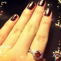 Beautiful red halo ring and cute mani