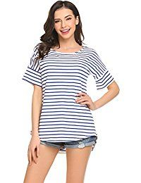 87742d0cb6a7 New POGTMM Women's Casual Raglan Short Sleeve Patchwork Striped Cotton  Shirts Loose T-Shirt Tunic Tops online. Find the perfect RouA Tops-Tees  from top ...