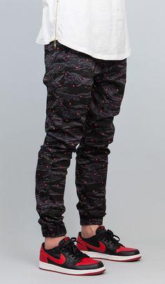 Black Camo Dot  Drop Crotch Jogger