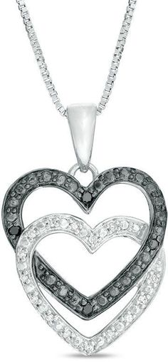 Zales 1/10 CT. T.w. Enhanced Black and White Diamond Interlocking Double Heart Pendant in Sterling Silver fx8hLNZ6mF