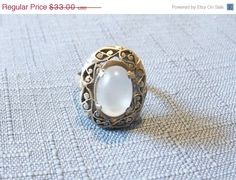 20 Off Vintage Ring Moonstone Sterling Silver by YoursOccasionally, $26.40