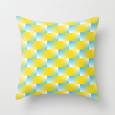Available on more products! Throw Pillow made from 100% spun polyester poplin fabric, a stylish statement that will liven up any room. Individually cut and sewn by hand, each pillow features a double-sided print and is finished with a concealed zipper for ease of care.  Sold with or without faux down pillow insert.  @society6 #art #abstract #digital #color #rectangle #blue #yellow #white #pattern #pillow #home #decor #throw #shopping #decorate #gift #idea #buy #sale #men #women #fashion…