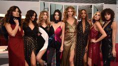 Lily Aldridge, Irina Shayk, Gigi Hadid, Kendall Jenner, Karlie Kloss, Jourdan Dunn, Elsa Hosk and Alanna Arrington (left to right) pose in Diane Von Furstenberg's fall 2016 show.