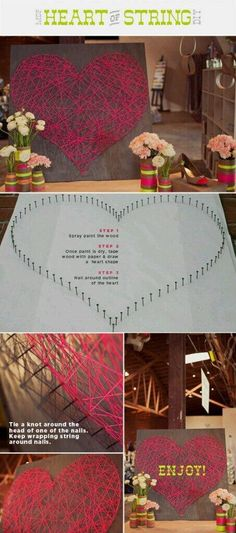 this could be fun-- any shape of string art. kaitaili this could be fun-- any shape of string art. this could be fun-- any shape of string art. Cute Crafts, Crafts To Make, Homemade Crafts, Diy Projects To Try, Craft Projects, Craft Ideas, Diy Ideas, Diy Image, Creation Deco