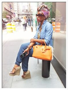 Colorful and fun street style with a great floral turban