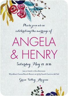 Vibrant Flowers - Signature White Textured Wedding Invitations - Petite Alma - Sassy - Pink : Front