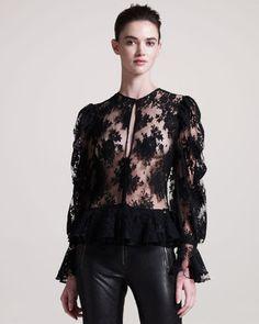 ShopStyle: Alexander McQueenFloral Lace Blouse
