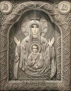 """""""Ukrainian artist Vladimir Denshchikov creates mind-blowing religious icons made almost entirely of linen thread. except for the faces and the hands. Each thread is pulled from pure linen and hand knotted. Each piece takes months to create! Religious Icons, Religious Art, Faith Crafts, Images Of Mary, Blessed Mother Mary, Ukrainian Art, Byzantine Icons, Holy Mary, Macrame Art"""