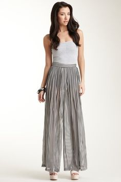 Wide Leg Pleated Chiffon Pants by Americal Apparel - SO comfy!!!