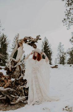 A winter bride in Montana, wearing a Gigi Pip hat and a Reclamation dress. Bohemian Bride, Bohemian Wedding Dresses, Elope Wedding, Wedding Day, Smoky Mountain Wedding, Bridal Hat, Winter Bride, How To Feel Beautiful, Perfect Wedding