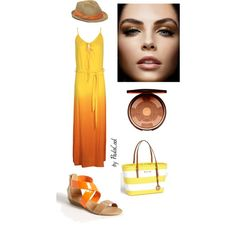 Yellow Ombre Maxi Dress Summer Bronze by paulacool