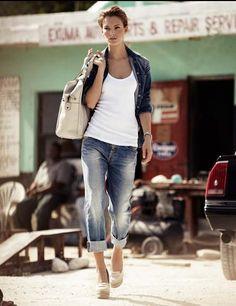 spring/summer - boyfriend jeans, white tee, jean jacket, heels