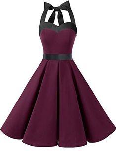 Back Details: Lace-up Elastic Back Body Shape: All body shape  Embellishment: Sash Hemline: Knee Length Neckline: Halter Season: Spring, Summer, Autumn Silhouette: A-line Sleeve Length: Sleeveless Style: Elegant, Stunning Waist: Empire Venues: Garden, Wedding, Prom, Party, Bridesmaid, Evening,... Retro Dresses | 90S Fashion | 80S Prom Dress Retro Dresses | 90S Fashion | 80S Prom Dress