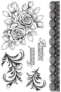 English Rose - Clear Stamps as seen on 1-2-3 Stitch