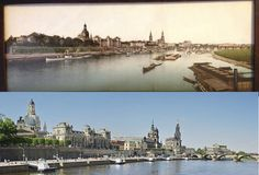 The top, apparently hand-tinted photo, from 1920's or earlier, bought in a junk shop, hung on my wall for many years. Nobody could identify the city until a few years ago, I came on the Semper Opera House (farthest in the background) and so, it was Dresden. Most of the buildings were destroyed in  the war and rebuilt (many with original stones pulled from rubble) and recent view is similar to old photo.