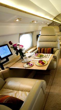 Inside a luxury plane