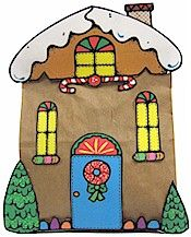 idea -- paint gingerbread houses on kraft paper (adding white makes tempera colors pop)