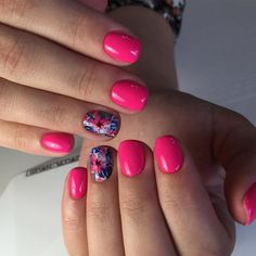 Acid pinknails, Bright pink nails, Manicure by summer dress, Nails with flower print, Nails with stickers, Neon nails, Pink dress nails, Print nails