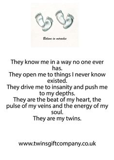 A twin poem shared by www.twinsgiftcompany.co.uk