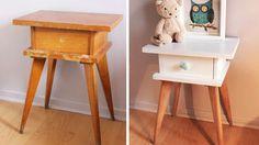 relooking table chevet bois