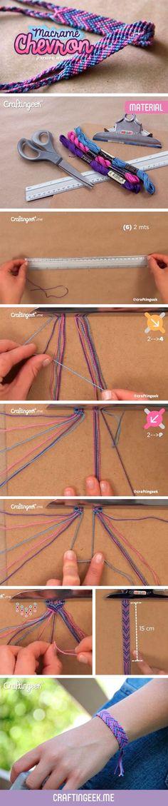 Macramé Chevrón. Diseño en flecha. Es un diseño bonito de pulsera para hacer y regalar a algun amigo, vas intercalando los colores de la flecha y un diseño super sencillo.