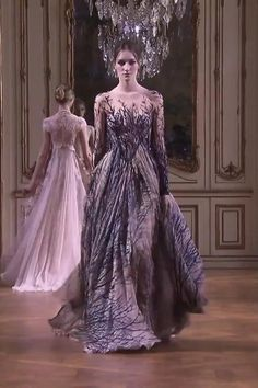 Embroidered Rose Evening Maxi Dress / Evening Gown with Off Shoulder Illusion, Long Sleeves and V-Back Cut. Runway Show by Zuhair Murad. Stylish Dresses, Nice Dresses, Fashion Dresses, Stunning Prom Dresses, Beautiful Gowns, Evening Gowns Couture, Evening Dresses, Couture Fashion, Runway Fashion