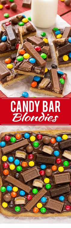 These candy bar blondies are a chewy brown sugar cookie base topped with rich chocolate frosting and your favorite candy.