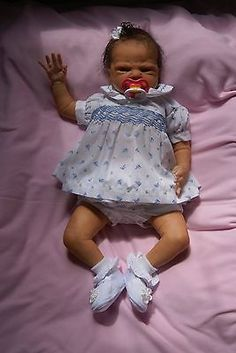 """Reborn Ethnic AA Biracial Baby Girl from 21"""" Scarlet by Cindy Musgrove~OOAK Doll"""