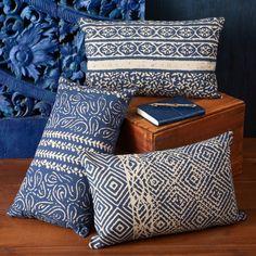 Indigo Batik Pattern Pillow Assorted 3 Patterns - Cotton Canvas/Polyester Fill