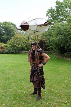 Awesome steampunk girl with an incorporated zeppelin.