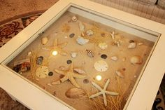 -- Ikea sells a table like this. Seashell Crafts, Beach Crafts, Diy Crafts, Garden Coffee Table, Coffee Tables, Shadow Box Coffee Table, Liatorp, Shell Display, Nautical Home