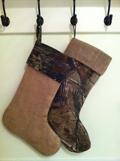 Burlap and Camo Christmas Stocking with Button Pocket #Burlap ...
