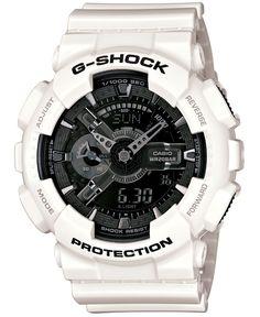 G-Shock Men's Analog-Digital White Resin Strap Watch 51x55mm GA110GW-7A