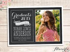 Chalkboard GRADUATION Announcement Photo Card Invitation - DIY Custom Printable