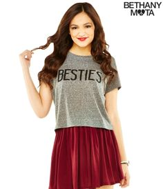 Maroon and Black Skater Skirt Set two skater skirts from the original Bethany Mota collection, soft and comfortable! Teen Fashion, Love Fashion, Fashion Beauty, Girl Outfits, Cute Outfits, Fashion Outfits, Aeropostale, Bethany Mota Outfits, Bethany Mota Collection