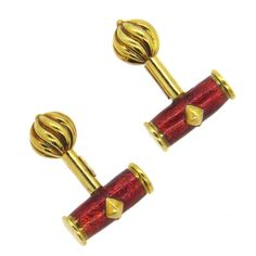For Sale on 1stdibs - A pair of 18k yellow gold cufflinks, designed by Jean Schlumberger for Tiffany & Co, decorated with red enamel on the top. Cufflink to measures 18mm x