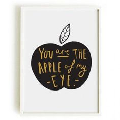 OLD ENGLISH CO.   APPLE OF MY EYE PRINT (BLACK & GOLD/WHITE BACKGROUND)   A3 アートプリント/ポスター