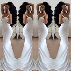 Beautiful V Neck Backless White Mermaid Dress
