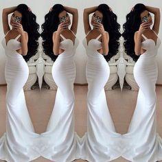 Beautiful V Neck Backless White Mermaid Dress