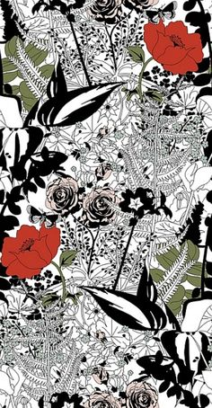 English Garden (ENGLISH GARDEN) - Dupenny Wallpapers - An all over wallpaper design featuring a stylised English garden including roses and other garden foliage. Shown here in bold black, red and green. Please request a sample for a true colour match. Please note this product has a very long pattern repeat. Paste-the-wall product.