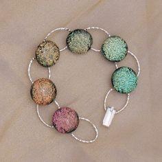 SALE - pale citrus colours Dichroic glass bracelet - B4