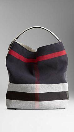 126358f3c9d Medium Canvas Check Hobo Bag Burberry Burberry 2014, Slouch Bags, Burberry  Handbags, Me