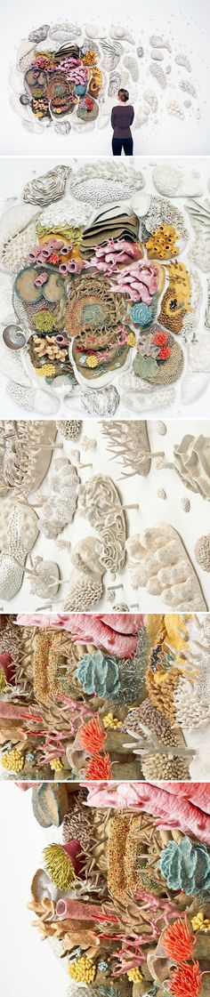 Beautiful and sad all in one glance. This is a glazed stoneware and porcelain installation by American artist/ocean advocate Courtney Mattison titled Our Changing Seas III. Here are her eloq Art Sculpture, Sculptures, Sculpture Ideas, Instalation Art, 3d Art, Picasso Paintings, Art Paintings, Art Design, Art Plastique