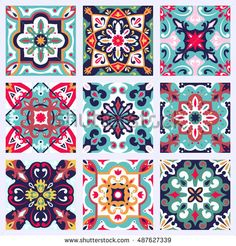 Set with Beautiful seamless ornamental tile background. Vector illustration can be used for desktop wallpaper or frame for a wall hanging or poster, for pattern fills, surface textures, textile – Buy this vector at Shutterstock and find other images.