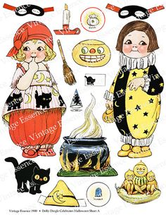 DOLLY DINGLE HALLOWEEN Paper Doll Digital by VintageEssence1900, $4.00
