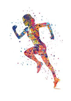 Running art gift sports poster print painting